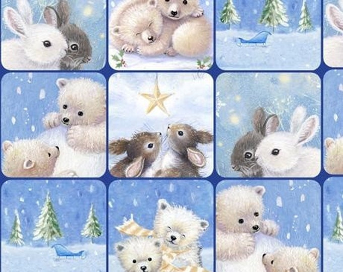 "Quilting Treasures - Woodland Cuties  - Baby Animals - Christmas - Checkerboard -  36""x44""  - 27113B - Sold by the Yard"