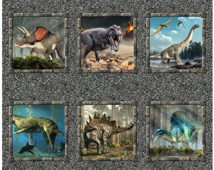 In the Beginning Fabrics - Jurassic - Dinosaur - Realistic Dinosaurs - Panel - Small Panel  - 2JUR1 -  Sold by the Panel
