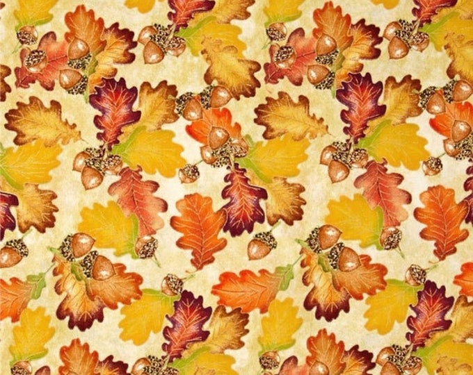 Quilting Treasures - Harvest Bounty - Autumn - Leaves and Acorn - Leaves - Gold Metallic - 1649-24500-E - Sold by the Yard