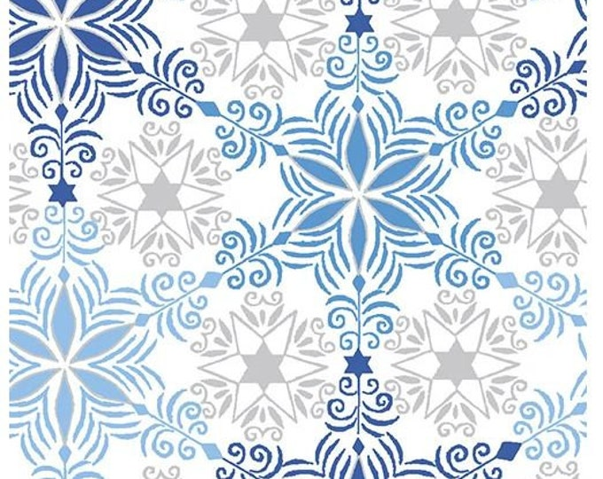 Paint Brush Studios Fabric - Blue Holiday - Silver Metallic - Blue and Silver Snowflakes - 672371 -  Sold by the Yard