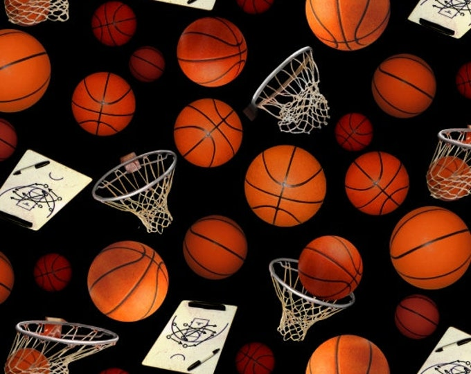 Elizabeth Studio Fabric - Sports Collection - 132 - Basketball fabric - All Over Print - Basketball Hoops -  Sold by the Yard