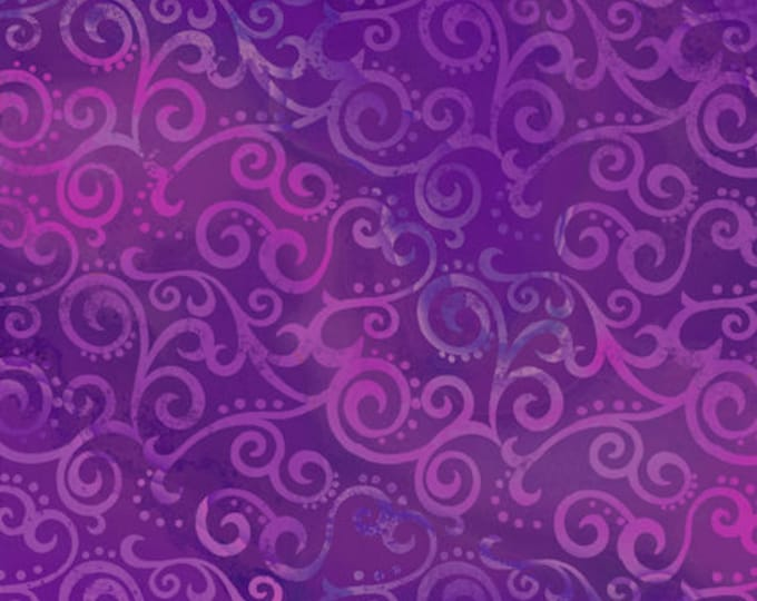 """Quilting Treasures - Ombre Scroll - Wide Back - Grape - Purple - 108"""" Wide - 24775V - Sold by the Yard - 36"""" x 108"""""""