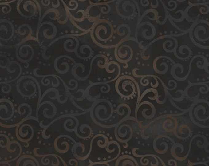 """Quilting Treasures - Ombre Scroll - Wide Back - Black - 108"""" Wide - 24775J - Sold by the Yard - 36"""" x 108"""""""