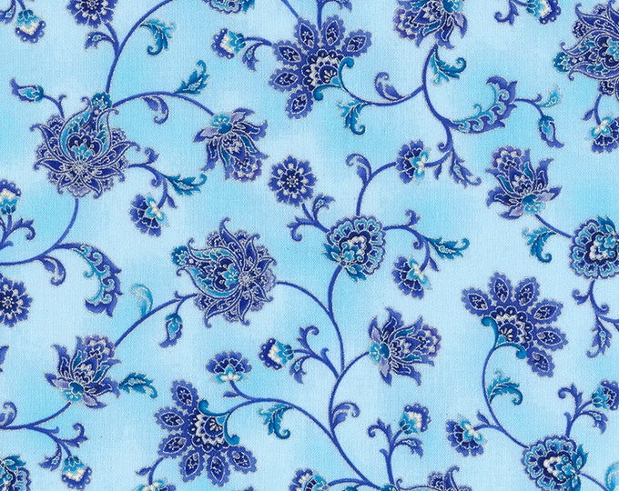 Timeless Treasures - Duchess - Paisleys - Floral - Vine - CM5229 - Mist - Silver Metallic -  Fabric by Yard