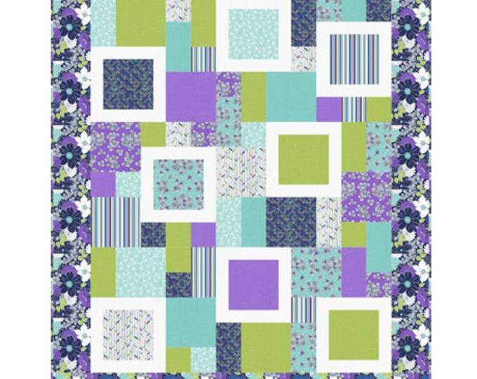 "Quilting Treasures - Lexi  - Quilt Kit - Floral Quilt Kit - Navy  - Quilt Kit - 60""x72"" -  Sold by the Kit"