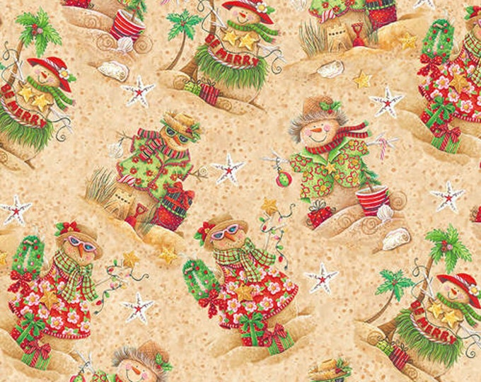 Blank Quilting - Holiday Beach - Sand Snowmen - Beach Snowmen - Surfing Santa- Christmas Flamingo - Flamingo fabric- Sold by the Yard