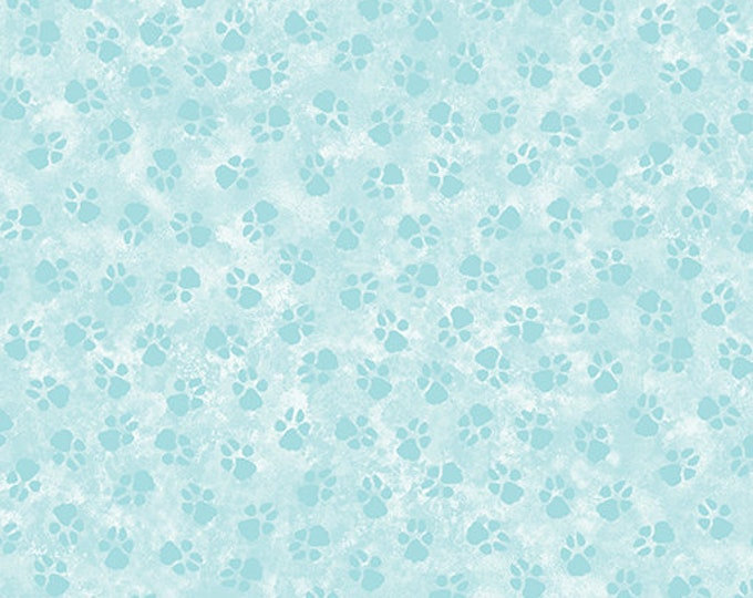 Benartex - Dog On It - Paw Prints - Light Teal - Tone on Tone  -  0625852B - Sold by the Yard
