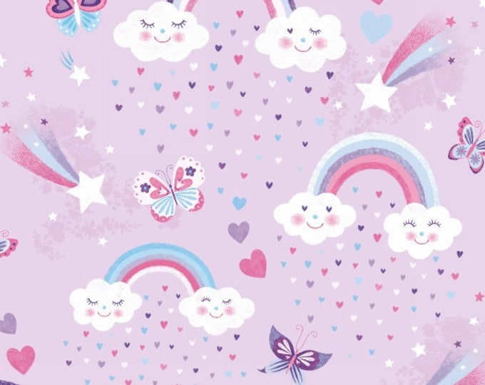 Studio E - Unicorn Kisses - Rainbows Fabric on Purple Background  - Unicorn Fabric - Unicorn  -  4054-55- Sold by the Yard