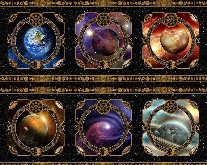 In the Beginning Fabrics - Cosmos - Jason Yenter - Panel - Universe - Space Panel - Celestrial - Planets - 2COS1 - Sold by the Panel