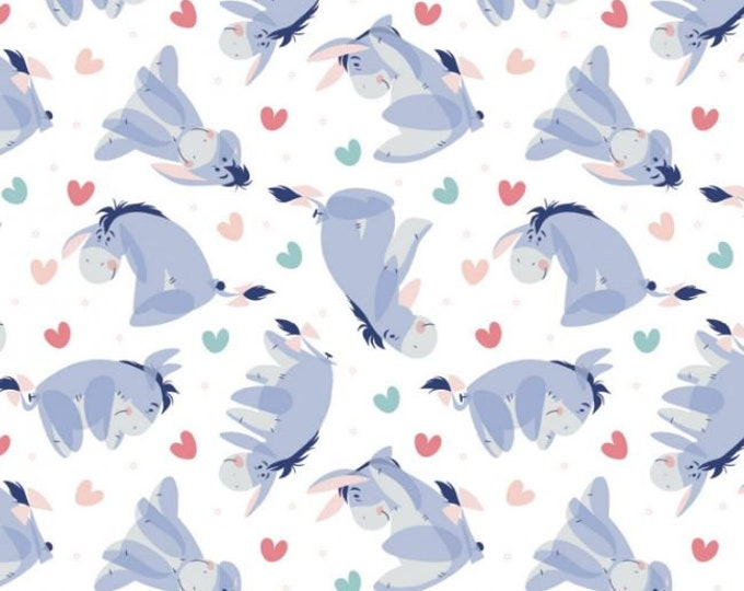 Camelot - Winnie the Pooh - Enjoy the Little Things -  Heart Toss - Disney - Eeyore - Disney Fabric - 85430519 - White - Sold by the Yard
