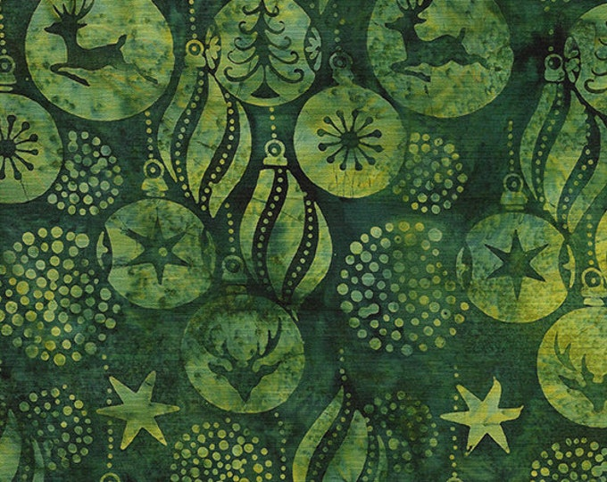 Island Batik - Ornaments - Christmas Batik -  Batik - Fern - Green - Sold by the Yard