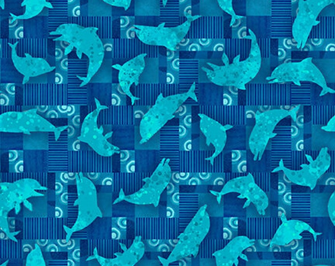 Studio E - Blooming Ocean - Dolphin Toss - 5406-71  - Blue - Sea Life  - Sold by the Yard