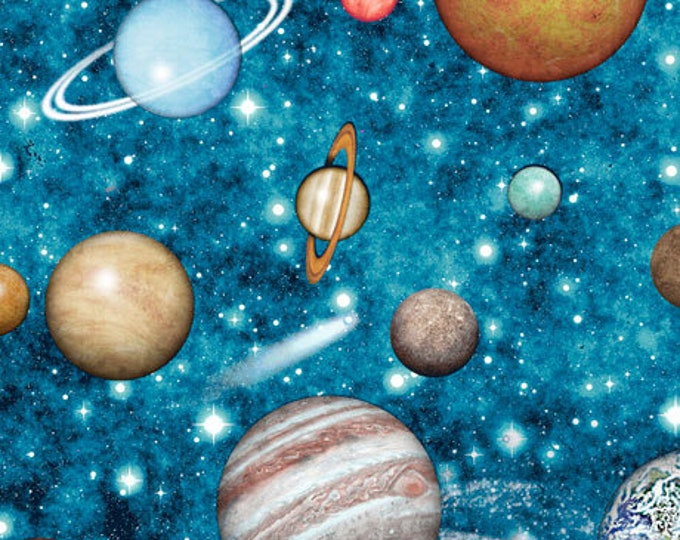 Quilting Treasures - Intergalactic - Planets - Blue - 26744Q - Sold by the Yard