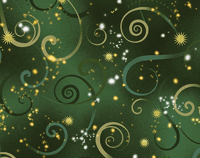 Kanvas for Benartex - Dance of the Dragonfly - Swirling Sky - Evergreen - 8500-41  - Gold Metallic - Sold by the Yard
