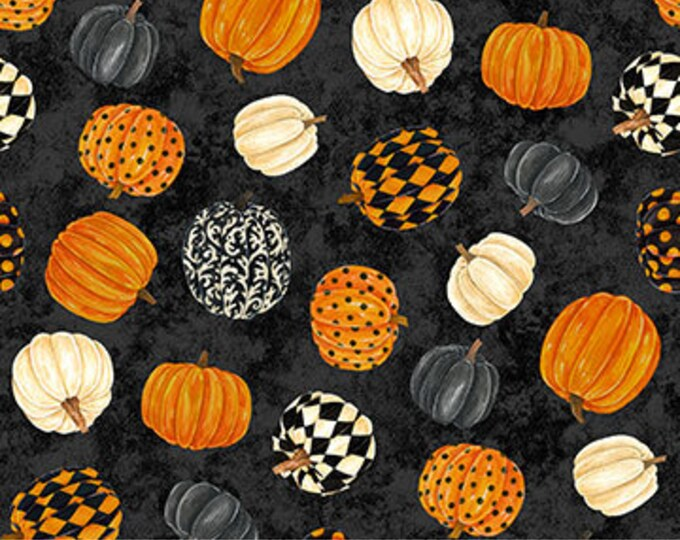 Northcott - Black Cat Caper - Pumpkin  - Halloween - Harlequin Pumpkins -  24117-99 - Sold by the Yard
