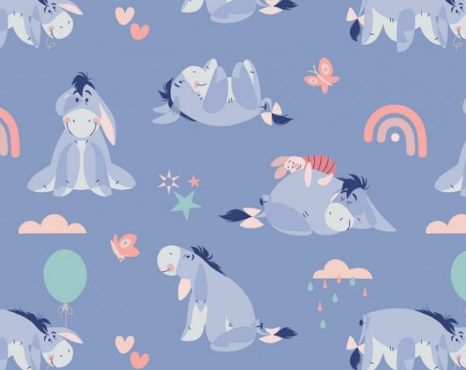 Camelot - Winnie the Pooh - Enjoy the Little Things -  Disney - Eeyore - Disney Fabric - 85430518 - Periwinkle - Sold by the Yard