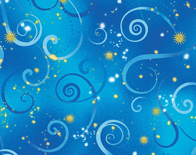 Kanvas for Benartex - Dance of the Dragonfly - Swirling Sky - Cobalt Blue - 8500-50  - Gold Metallic - Sold by the Yard
