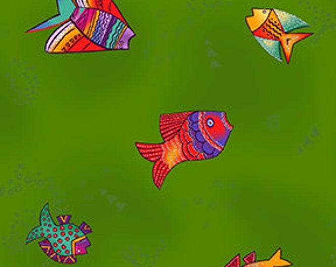 Laurel Burch - Sea Goddess - Fish - Dark Olive - Silver Metallic -  Y2601-25M - Sold by Yard