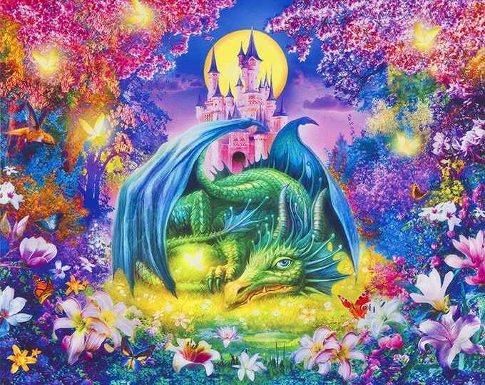 Robert Kaufman - Picture This - Dragon -  Castle - AYKD-18720-286 WILD  -  Panel - Sold by Panel