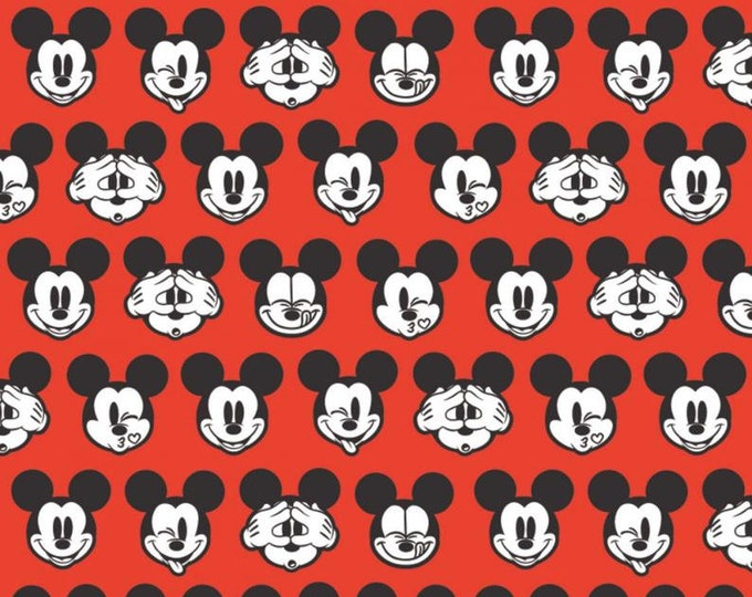 Camelot - Its a Mickey Thing - Mickey Expressions  -  Disney - Mickey Head  - Mickey - Disney Fabric  - RED - Sold by the Yard
