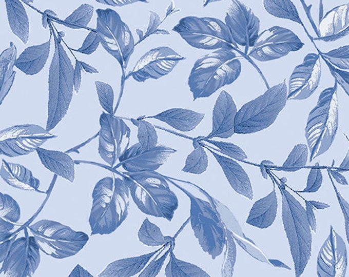 Kanvas for Benartex - Field of Dreams - Botanical  Leaves - Blue  - 8937-50 - Sold by the Yard
