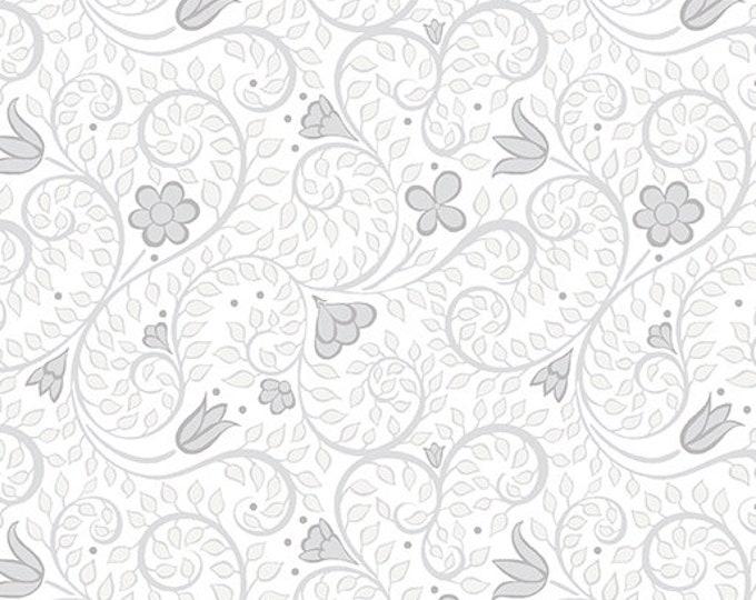 Benartex - Contempo - Folk Art Fantasy - by Amanda Murphy - Leaf Blender - Light Gray - 3133-13 - Sold by the Yard