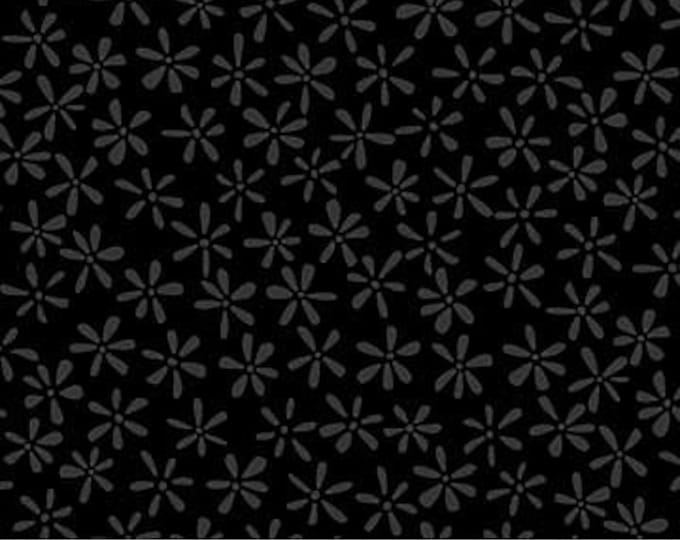 Northcott - Simply Neutral - Black -  22137-99  - Neutral - Tone on Tone -  Gray on Black - Black on Black - Floral -  Sold by the Yard