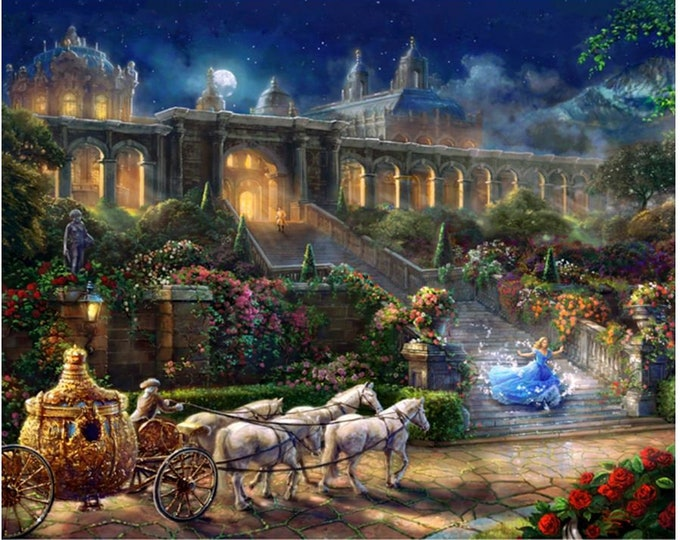 Davids Textile - Disney Magic Panel - Clock Strikes Midnight -  By Thomas Kinkade  - PANEL -  Classic Cindarella Panel -  Sold by the Panel