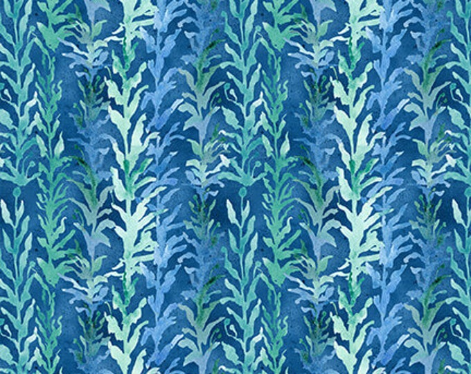 Blank Quilting - Sea Glass - Tonal Seaweed - Blue - Seaweed fabric - 9554-77 - Sold by the yard