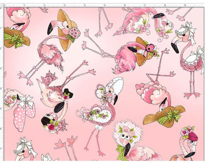 Loralie Design - Flamingo Fancy - Pink -Flamingo Tossed  692-328 - Sold by the Yard