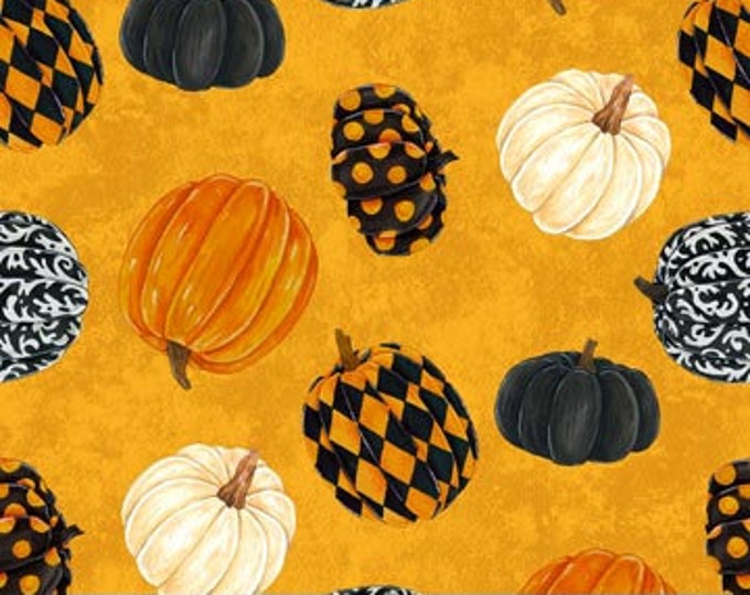 Northcott - Raven's Claw - Pumpkin  - Halloween - Harlequin Pumpkins -  22862-54 - Sold by the Yard