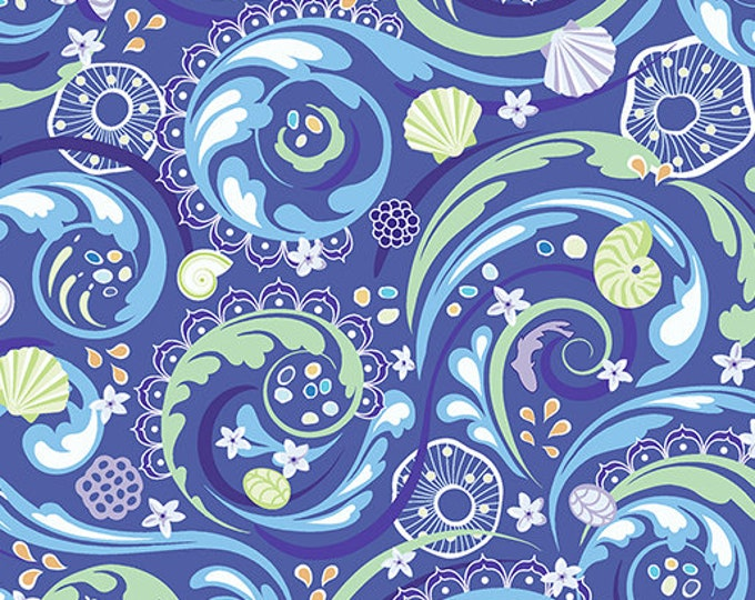 Benartex - Contempo - Crescendo - by Amanda Murphy - Ocean Blue  - 10250-50 - Flowers and Shells  - Sold by the Yard