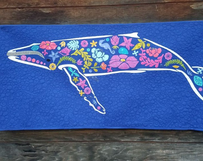 "Beachcomber  - Whale - Pre-cut/fused Kit - 25""x50"" - Precut/Fused Applique Kit - precut kit -  Sold by the Kit"