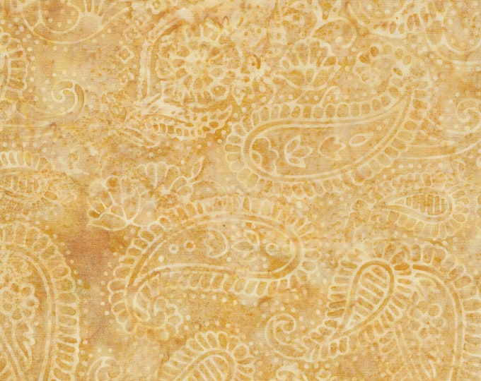Island Batik - Paisley Outlining - Paisley Batik - Paisley - Batik - Wheat - Gold  - Sold by the Yard