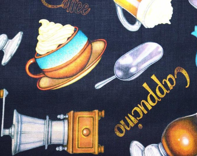 Quilting Treasures - Cafe All Day - Coffee - 27077 Q - Coffee Pot - Cups - Coffee Grinder  Coffee Beans - Sold by the Yard