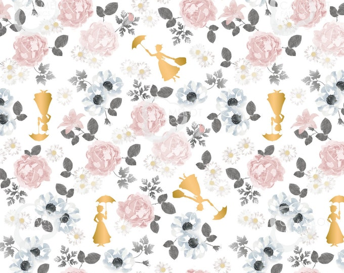 """Camelot - Mary Poppins - approx 36""""x44"""" - Disney  - Poppin Floral Fabric - White Background - Gold Metallic - 85460103L01 - Sold by the Yard"""