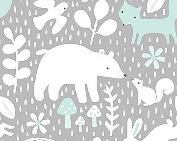 New - Northcott - Hello Little One - Gray Forest with Blue/Mint- Animal Baby Print - Baby Pastel - Baby - Pastel - 22692-62 -  Sold by yard