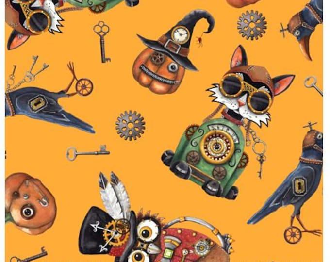 Quilting Treasures - Steampunk Halloween - Halloween Toss - Orange - Steam Punk  - 27771O - Sold by the Yard
