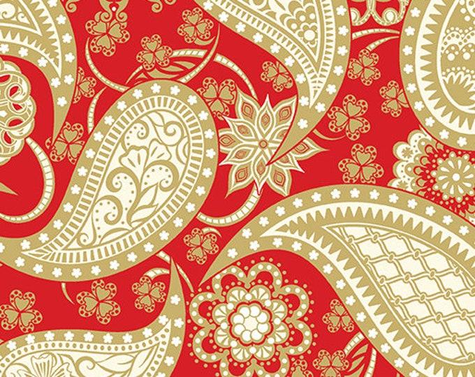 Benartex - Jubilee - Red Paisley - Amanda Murphy  - 5490M-10 - Gold Metallic - Sold by thy Yard