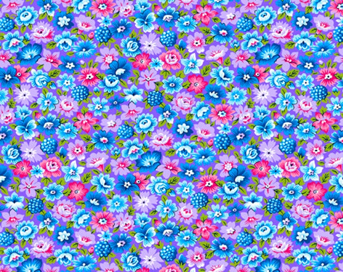 Quilting Treasures - Bliss - Packed Flowers - Pink Blue Teal and Laveder Flowers - Floral Fabric - Packed Floral - 27471V - Sold by the Yard