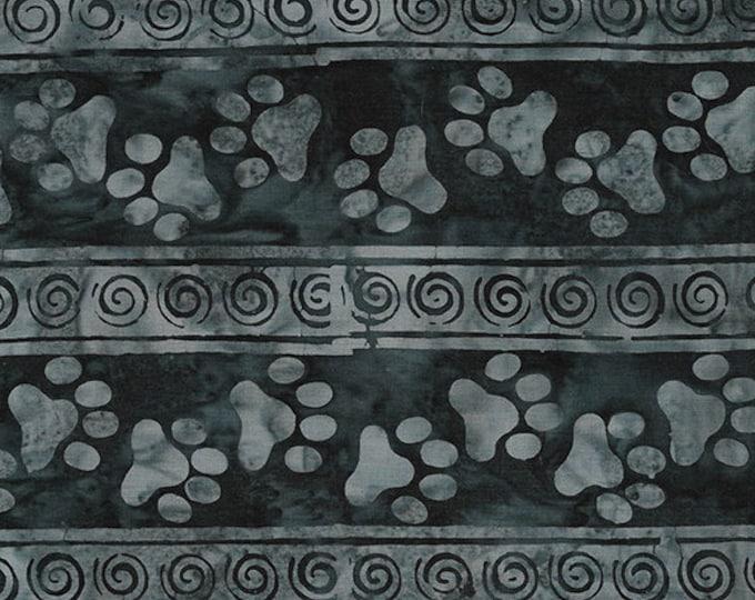 Island Batik - Paw Stripe - Batik - Border Stripe - Salt and Peper  -Black/Gray  - Sold by the Yard