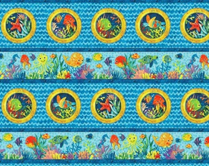 "Northcot - Stonehenge - Underseas Adventure - Border Stripe - 39407-44 - by  Linda Ludovico - 36""x45"" - Sold by the Yard"