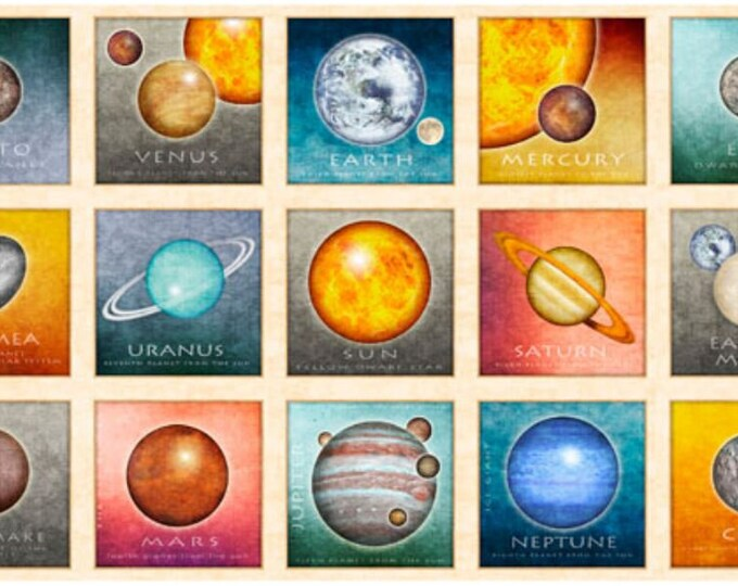 Quilting Treasures - Intergalactic - Planets - Panel - 26742E - Sold by the Panel