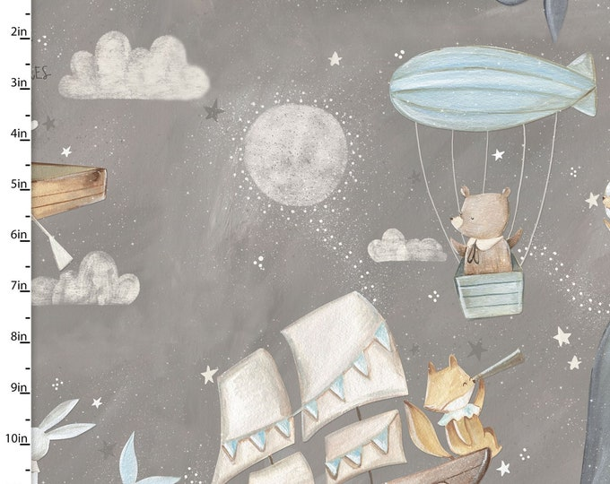 Three Wishes -Adventure in the Sky -  Airballoon and Boats  -  Gray Background -  14656  - Sold by Yard