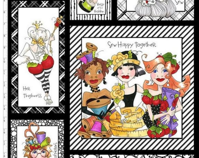 Loralie Design - Sew Curious - Black Panel - Sewing Ladies - Panel - 692-341 -   Panel - Sold by Panel