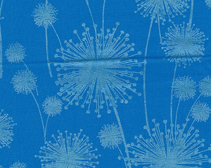 Kanvas for Benartex - Pearl Reflection - Pearl - Dandelion  - Peacock Blue - 8461P-54 - Pearl - Sold by the Yard