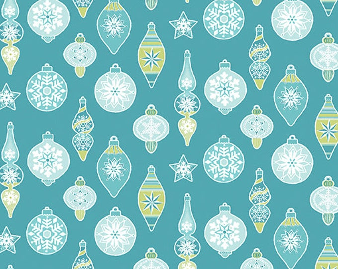 Contempo - Nordic Holiday - Teal with Green and Blue Christmas Ornaments - 1887-85 - Fabric by the Yard