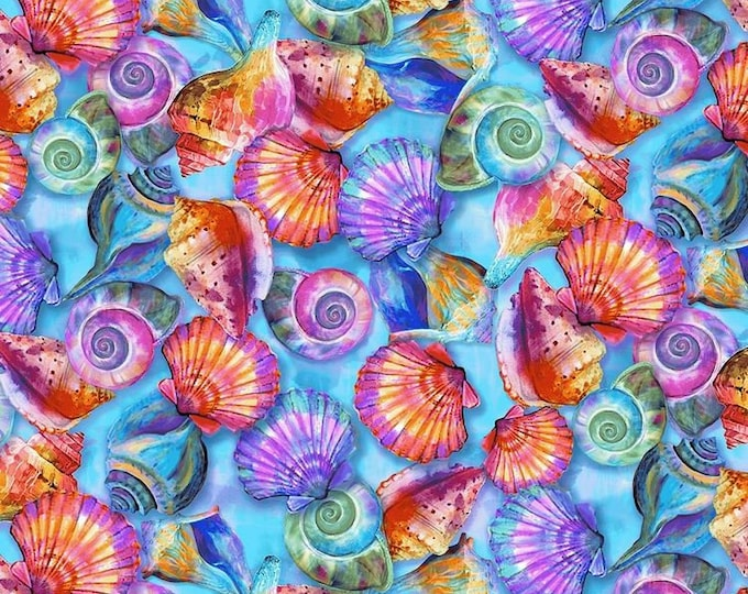 Paint Brush Studioes Fabric - Fabulous Flamingo - Colorful Shells - 120-208941 -  Sold by the Yard