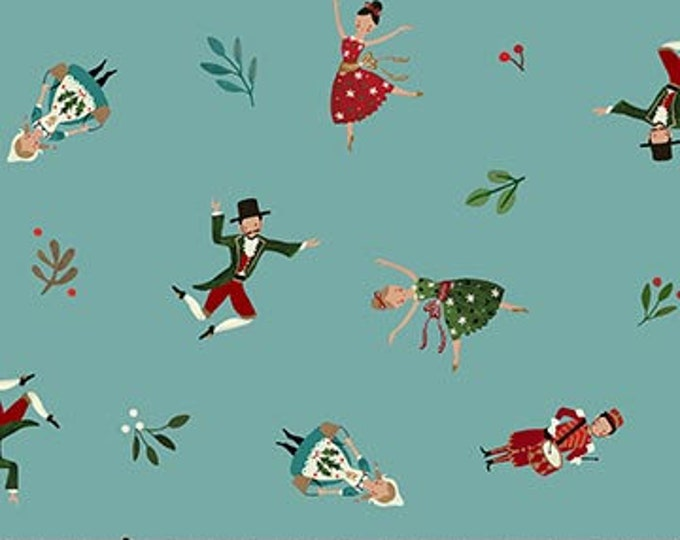 New - Northcott  - 12 Days of Christmas -  Little People - Teal - DP23456-64-  Sold by Yard