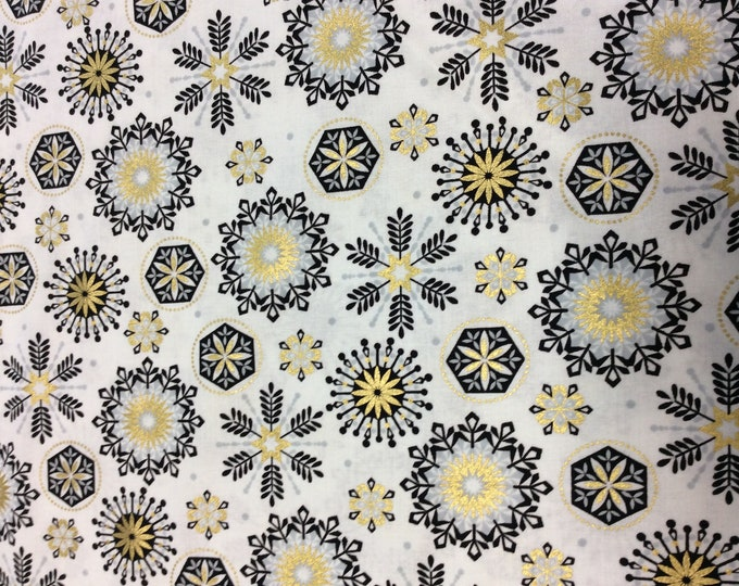 Kanvas for Benartex - Celebration - Gold and Silver Stars - Cream - 8382M-07 - Gold Metallic - Sold by the Yard